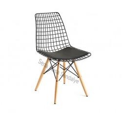 TL00 Ahşap Ayaklı Tel Sandalye